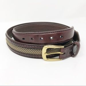 Brighton Leather and Fabric Belt Brass Buckle